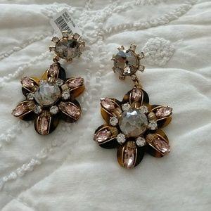 JCrew tortoise shell flower earrings